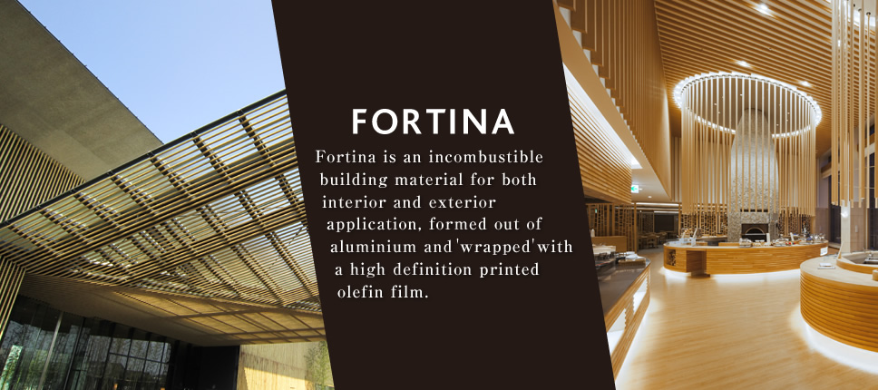 FORTINA Fortina is an incombustible building material for both interior and exterior application, formed out of aluminium and 'wrapped' with a high definition printed olefin film.